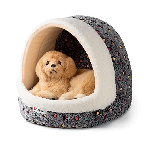 Tofern - Cuccia in pile per animali domestici, motivo a pois colorati o a righe, per cuccioli, cani e gatti di piccola e media taglia, cuccia igloo, antiscivolo, lavabile