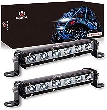 Single Row LED Light Bar 60W, GES 7 Inch 6 COB Universal LED Fog Lights, LED Driving Light/Work Lights for Trucks Jeep SUV Boat ATV LED Golf Cart Lights(2 Pack, 12-24V DC)