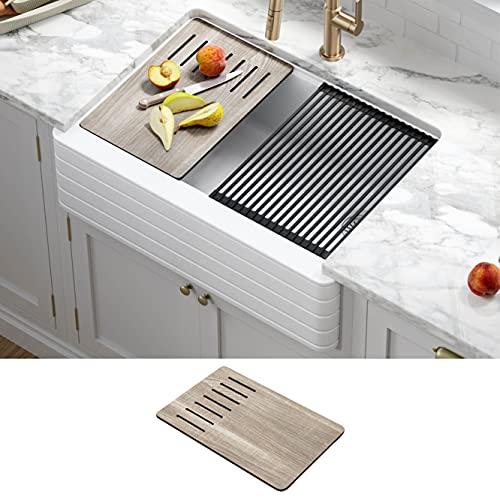 Kraus KGF11-30WH Bellucci Workstation 30 inch Farmhouse Apron Front Granite Composite Single Bowl Kitchen Sink, White