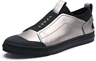 Fashion shoes, fashion shoes Fashion Sneakers For Men Slip On Elastic Band Synthetic Leather Walking Shoes Stitched Lightweight Cap Toe Solid Color Low Top Handmade Stitching Casual Shoes Comfortabl
