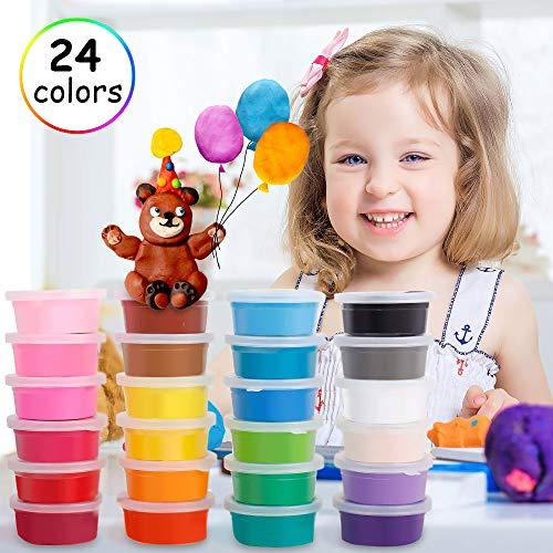 Migimi Springknete, Kinderknete Kindergeburtstag Knete Bunt Set Hüpfknete Kinder Flummimasse DIY Handgemachtes Lernen, Geburtstags Mitgebsel für Kinder - 24 Farben