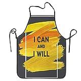 Not Applicable Fondo de Efecto de Pintura al óleo con Frase Motivacional Puedo y Delantal para Cocina BBQ Barbecue Cooking Chef Gift para Mujeres/Hombres