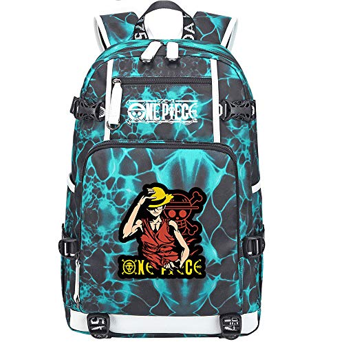 ZZGOO-LL One Piece Monkey·D·Luffy/Roronoa Zoro Backpack Casual Rucksack Waterproof Business Travel with USB Unisex-F