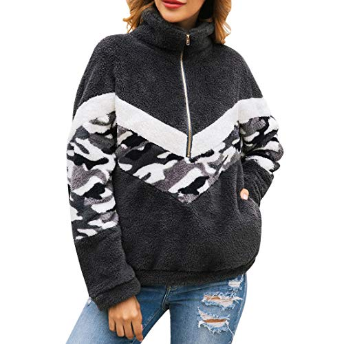 QJSZ Womens Stand-up Collar 1/4 Zip Pullover Long Sleeve Patchwork Loose and Comfortable and Winter Fleece Warm Lightweight Sweatshirt Fashion Elegant Casual Running top M