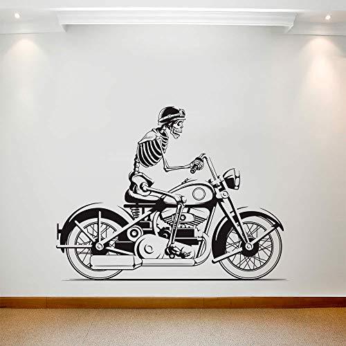 HFDHFH Calcomanía de Pared de Motocicleta Motocicleta Calavera Jinete Arte Vinilo Ventana Pegatina niño Dormitorio Sala de Juegos decoración del hogar Estilo Fresco Mural
