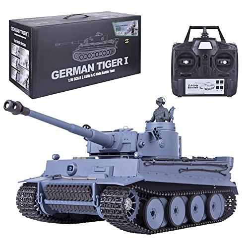 ITop Fernbedienung Panzer, 1:16 2.4G RC German Tiger I Metall Infrarot-Kampfpanzer Modell mit Licht und Rauch, FPV Dashcam für Kinder und Erwachsene