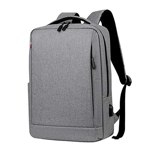 Laptop Bags Laptop Bag Backpack with USB Charging Interface Large Capacity Layered Travel Backpack Waterproof Nylon Fabric School Bag Suitable for 15.6-inch Laptop Briefcases (Color : Gray)