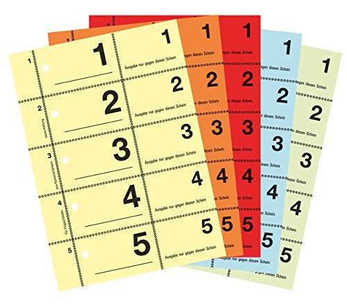 AVERY Zweckform 867-5 Garderobennummern (A6, 2.500 durchnummerierte Abrisse von 1-500 pro Block, je 100 Stück in einer anderen Farbe, 5 Blöcke mit je 500 Nummern) gelb, orange, rot, blau, grün