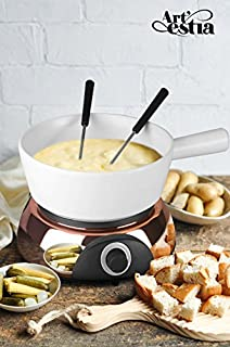 Artestia Electric Ceramic Fondue Set with 6 Fondue Forks (Rose Gold Color Base/White Ceramic Pot)