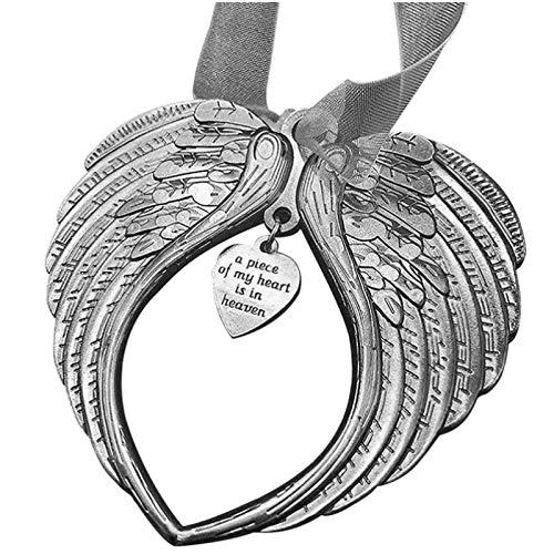 DAGONGJI Un Pedazo de mi corazón está en el Cielo Colgante de alas de ángel Colgante de Encanto para Mujer Adornos de ala de corazón de Navidad Regalo conmemorativo Silver