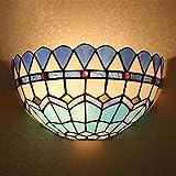 THj Lámpara de Pared Estilo Tiffany, lámpara de Pared Azul con vitrales mediterráneos, bañador de Pared, Faros de Espejo para baño, Apliques de Pared para Pasillo de balcón, 111-240 V, E27,1