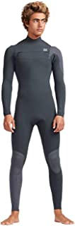 Billabong Mens 4/3mm Furnace Carbon Comp Chest Zip Wetsuit in Black Sands - Lightweight and High Stretch Furnace Lining