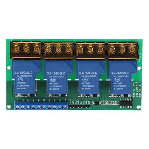 Módulo de relé de cuatro vías, panel de control, aislamiento de optoacoplador, módulo de relé de alta potencia para amplificación de PLC(12VDC)