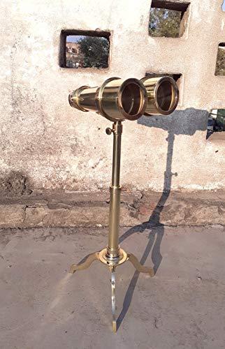 Ganga Nautical Fernglas aus Messing, Antik-Stil, 8-fache Vergrößerung, mit Ständer, Fernglas, Monokular mit Teleskop-Ständer