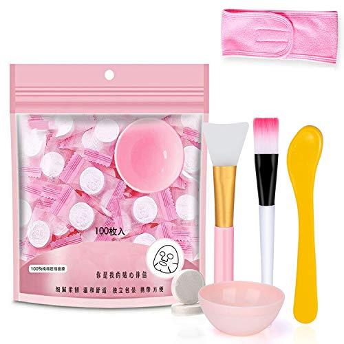100 Stück komprimiertes Gesichtsmaske Beauty DIY Einwegmaskenpapier Natürliche Baumwolle Hautpflege Umwickelte Masken Normal dick