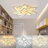 Modern Dimmable LED Ceiling Light Flower Petal Metal Acrylic Semi Flush Mount Pendant Lamp Fixture Chandelier Home Decor for Living Room Bedroom Restaurant (6+3 Head)