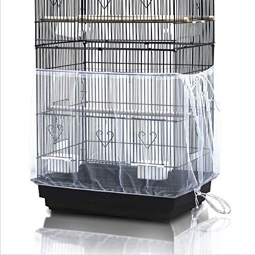 LACKINGONE Funda para Jaulas de Pájaros Ajustable, Cubierta de Malla para Jaulas, Protector y Red para Jaulas de Aves, Malla de Nylon para Jaula de pájaros, Colector de Semillas (1pc)(Blanco)