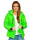 BOLF Mujer Chaqueta Esqui de Invierno con Capucha Cierre de Cremallera Plumas Jacket Cazadora Snowboard Zip Deporte Ocio Estilo Estilo Diario HH012 Verde Fluorescente S [D4D]