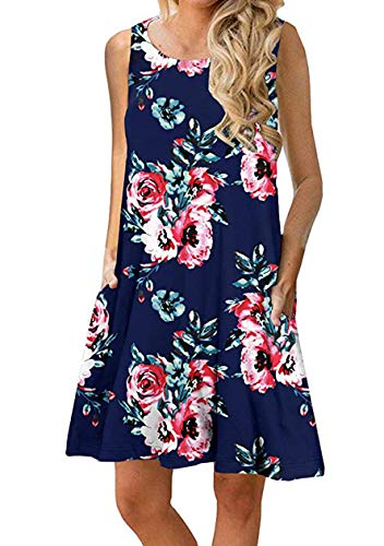 OMZIN Damen Sommer Ärmelloses beiläufiges lockeres Swing Flowy Dress lose Swing Flowy Kleid,Blau,L