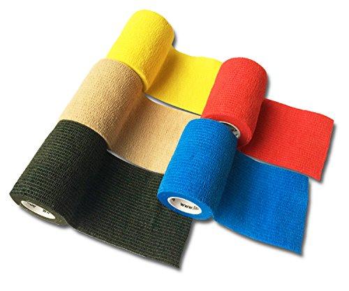 LisaCare Fixierbinde 7,5cmx4,5m | 5er-Set Kohäsive Bandage | Wundverband | Pflasterverband | elastisch, dehnbar, selbsthaftend, ohne Kleber