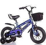 Asnails BMX Street/Dirt Bike Mit Handbremse Und Körbchentrainingsrädern, Geschlossener Kettenschutz, Schnellverstellbarer Sitz, 12 14 16 Zoll Fahrrad Für 2-8 Jahre Altes Kind,Blau,12Inch