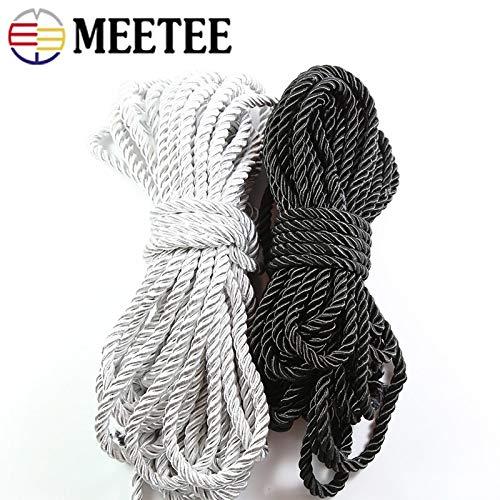 SMXGF 10m 05.04 / 6mm 3 Aktien Verdreht Nylon Cords DIY Fertigkeit Geflochtene Dekoration Ropes Tunnelzug Geschenkkarton Verpackung Gürtel (Farbe : 5mm Silver)