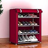 Aysis Multipurpose Portable Folding Shoes Rack 4 Tiers Multi-Purpose Shoe Storage Organizer Cabinet