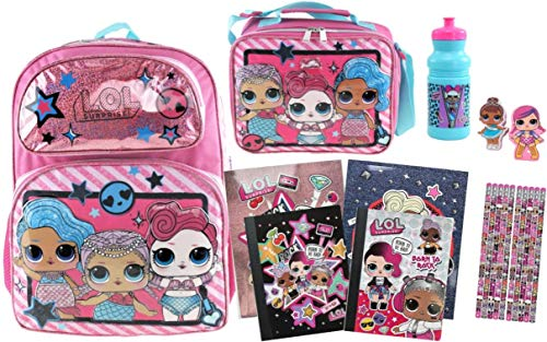 L.O.L. Surprise! 19 Piece Bundle: 16 inch Backpack, Lunch Tote, Bottle, Notebooks, Folders, Erasers, Pencils!