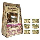 NATURAL GREATNESS - Pienso Gatos Esterilizados, Senior o de Interior Sin Gluten Hipoalergénico Saco 2 kg Incluye 6 Latas Comida Húmeda | ANIMALUJOS