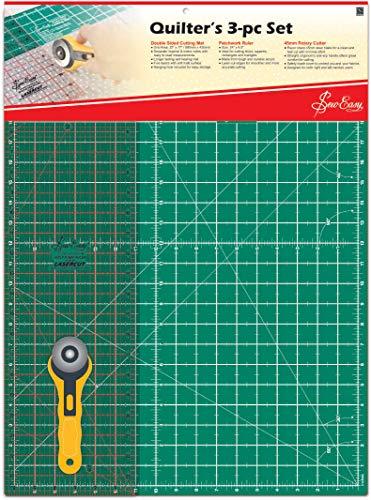 Sew Easy Quilter Set Das Große A2 Schneidematten Set (62x45,7cm) Mit Hilfslinien In Cm Und Inch, Schneidelineal In Inch, Roll-schneider,  Beidseitig Verwendbar