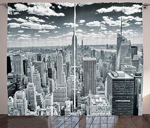 ABAKUHAUS Nueva York Cortinas, Paisaje Urbano de Manhattan, Sala de Estar Dormitorio Cortinas Ventana Set de Dos Paños, 280 x 225 cm, Gris