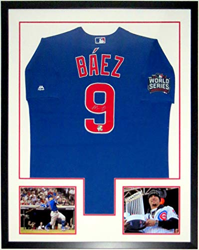 Javier Baez Signed Majestic Chicago Cubs 2016 World Series Jersey - MLB & Fanatics COA Authenticated - Custom Framed & 2 World Series 8x10 Photo & Patch 34x42