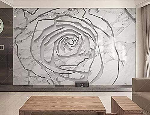 Fondo de pantalla de textura de flor de rosa de textura de mármol gris Pared Pintado Papel tapiz 3D Decoración dormitorio Fotomural de estar sala sofá mural-430cm×300cm