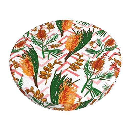 Round Bar Stools Cover,Schöne Australische Einheimische Blumenillustrationen,Stretch Chair Seat Bar Stool Cover Seat Cushion Slipcovers Chair Cushion Cover Round Lift Chair Stool