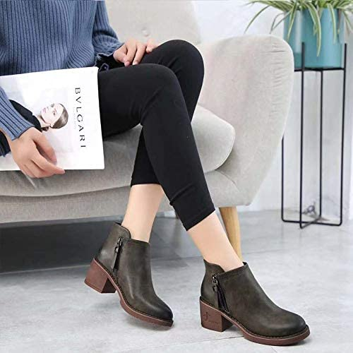 HOESCZS Bottes Femmes Wohommes Autumn and Winter New Thick with Wohommes chaussures on Both Sides Zipper Casual Fashion bottes High Heel Wohommes chaussures