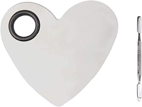 obmwang Stainless Steel Heart Shaped Makeup Palette Spatula - Makeup Artist Makeup Enthusiast Tools for Blending Cosm...