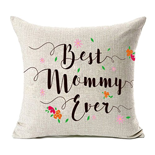 MFGNEH Best Mommy Ever with Flowers Cotton Linen Throw Pillow Covers, Pillow Case Cushion Cover 18 x 18 Inches,Mom Gifts,Mom Birthday Gifts