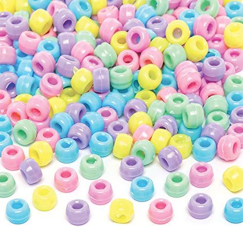 Baker Ross - Confezione da 600 perline pastello, perfette per gioielli per bambini, portachiavi e borsa pericolosa, colori assortiti