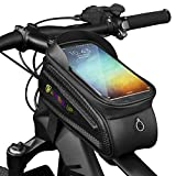 WATERFLY Bike Frame Bag Waterproof Bike Front Tube Handlebar Bag Bicycle Bag with Touch Screen Phone Case for iPhone 11/iPhone X/8/7 plus/7/6s/6 plus/5s (Black 1)