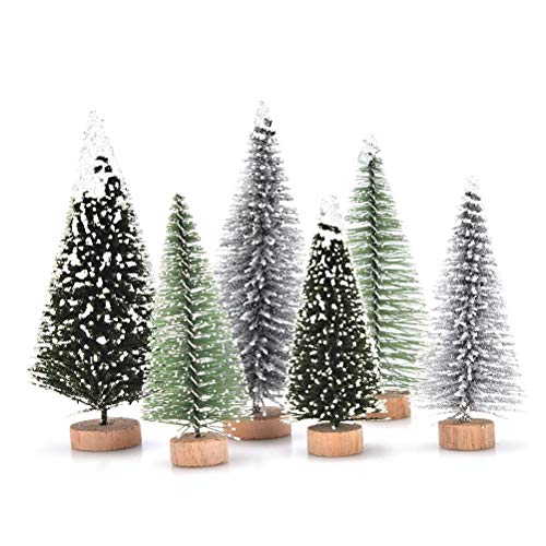 NIU MANG 18Pcs Miniature Christmas Tree Small Artificial Mini Model Snow Trees Frost Trees for Christmas Crafts Tabletop Decor