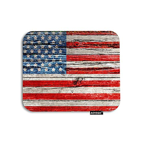 AOYEGO USA Flag Mouse Pad Vintage American Flag On Dark Wooden Fence Wall Patriotic Gaming Mousepad Rubber Large Pad Non-Slip for Computer Laptop Office Work Desk 9.5x7.9 Inch Red Blue White