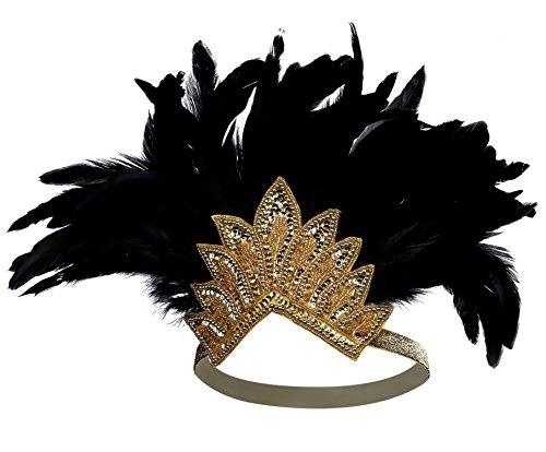 BABEYOND 1920s Feder Stirnband Damen Fasching Kostüm Accessoires Flapper 20er Kopfschmuck Karneval Zubehör (Gold Schwarz Stil 2)