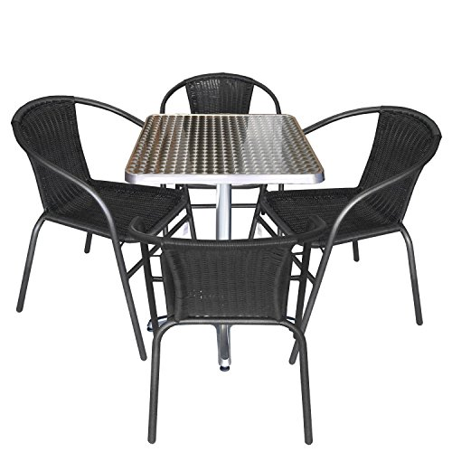 Multistore 2002 5tlg. Gartengarnitur Balkonmöbel Terrassenmöbel Set Sitzgruppe Polyrattan Stapelstuhl Aluminium Bistrotisch 60x60cm
