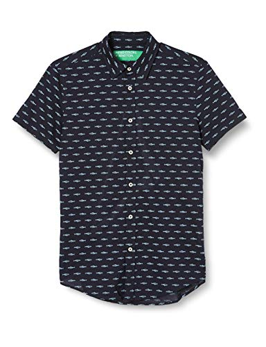 United Colors of Benetton (Z6ERJ) Herren Camicia Hemd, Blue W/White Fishes AOP 96b, M