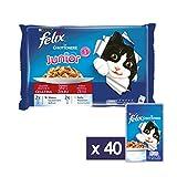 felix le ghiottonerie gatto junior con manzo e con pollo, 4 x 100 g - confezione da 10 pezzi