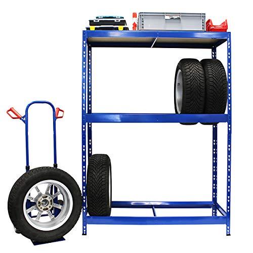 Rayonnage pour pneus | HxLxP 180 x 130 x 50 cm | Jusqu'à 12 pneus | Avec étagère - Etagère pour pneumatiques - Stockage de pneus - Rangement de pneus - Etagère métallique pour pneus
