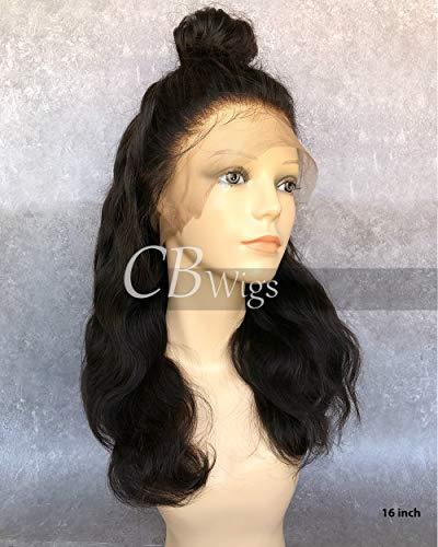 Perruque pour femme noire Cbwigs - Cheveux humains, brésiliens - Ondulation naturelle - Attache frontale 360°C
