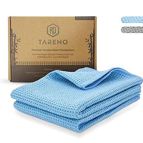 TARENO® Premium Microfaser Trockentuch - Waffeltuch [2er Set] - Saugstarkes Microfasertuch groß - Trockentücher Auto - Qualitative Autoputztücher - Geschirrtücher, Fenstertuch, Autotuch