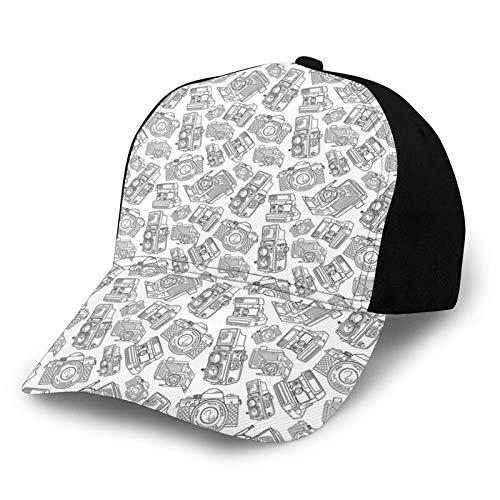 FULIYA Gorra de béisbol estructurada, cámara antigua, diseño monocromo, fotografía y tecnología de pasatiempos, sombrero para papá, se adapta a hombres y mujeres, perfil bajo ajustable