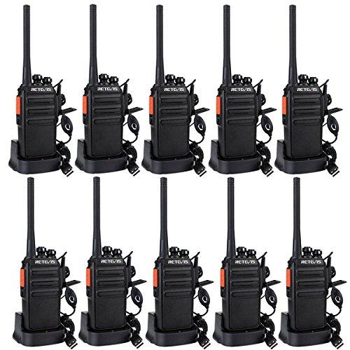 Retevis RT24 Walkie Talkie Profesionale, Walky Talky Recargable PMR446 sin Licencia 16 Canales CTCSS DCS, con Auriculars Cargador USB, para Comercial,Colegio,Cuidado De La Salud(5 Pares,Negro)